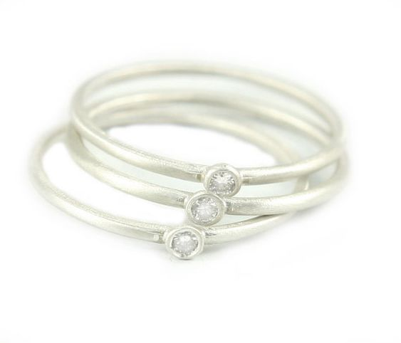Silver Diamond Ring, Stacking Ring, Diamond Ring, Sterling Silver Ring, Bezel Set Diamond Ring.