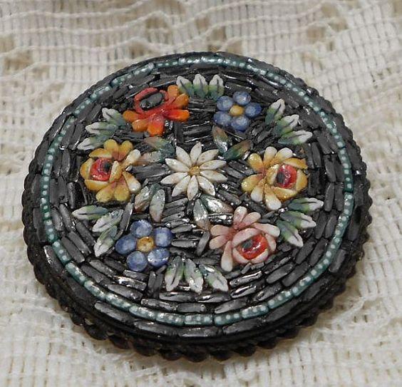 Vintage Round Micro Mosaic Brooch Pin by ViksVintageJewelry