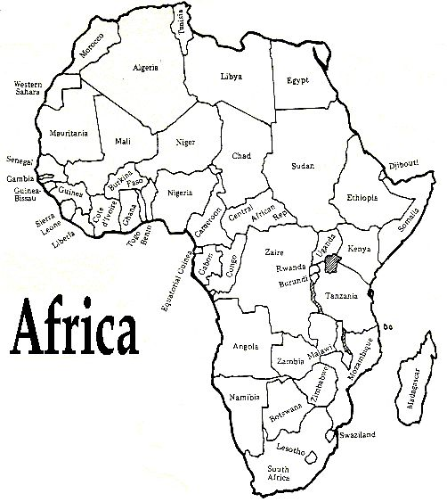 map of africa coloring page printable african map with countries labled free