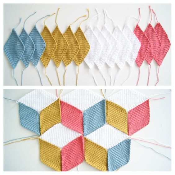 vasarely blanket · diamond blanket · manta cubos  3d · rombos de ganchillo · enlace al patrón