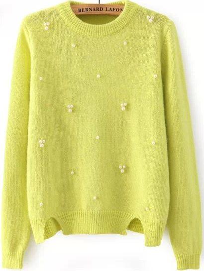 Bead Split Knit Green Sweater