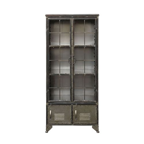 Distressed Black Metal Cabinet With Four Doors Metal Cabinet Vintage Industrial Furniture Accent Cabinet