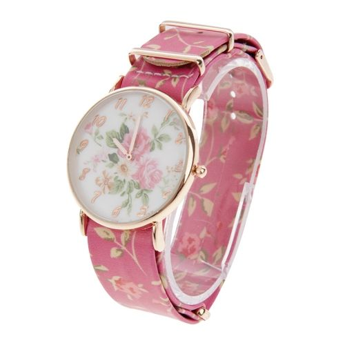 [$4.69] Flower Pattern Dial Sport Casual Women Quartz Watch with Flower Leather Band