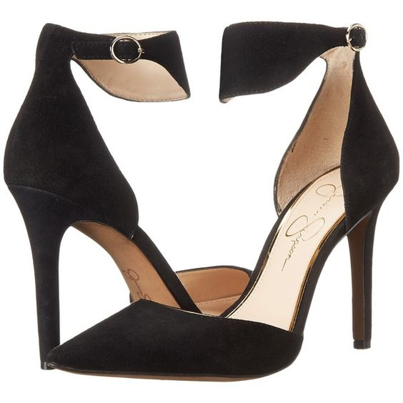 Jessica Simpson Cita High Heels, Black ($63) ❤ liked on Polyvore featuring shoes, sandals, black, black high heel sandals, black high heel shoes, black suede shoes, black suede sandals and high heel shoes