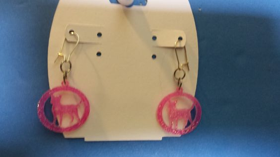 Sparling Pink Chihuahua Pierced Earrings by TheBlackOnyxBoutique on Etsy