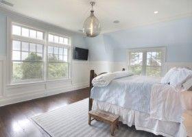 Beach house bedroom:  white + blue palette; floors; windows; lantern; dormer window