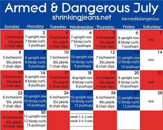 Armed & Dangerous July - Exercises to Get Nice Guns: Health Fitness, Daily Exercise, Monthly Challenge, Arm Workout, Workout Calendar, Fitness Challenge, Fitness Calendar, July Exercise, Monthly Workouts