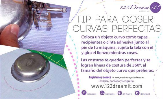 ¿Sabían que con una tapa, un plato o cualquier objeto curvo pueden coser líneas curvas perfectas a máquina?