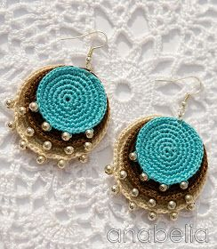 Anabelia Handmade: Boho turquoise crochet pendant and earrings