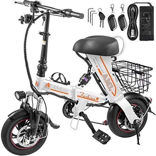 New Mophorn Foldable Electric Bike With Basket 36v 12ah Folding Electric Bicycle 400w Powerful Motor E Bi Electric Bike Electric Bicycle Foldable Electric Bike