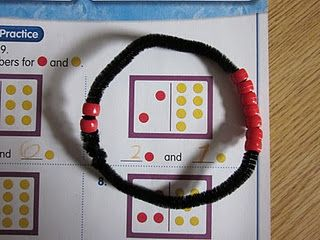 The very first really good hands-on idea I have found to use with Envision Math. A math bond bracelet-love!