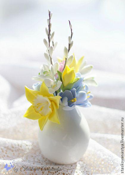Clay flowers by Staskova Anastasya. Интерьерные композиции ручной работы. Ярмарка Мастеров - ручная работа Букетик с весенними цветами. Handmade.: