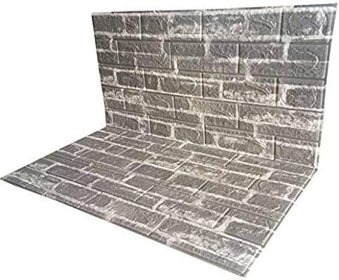 Amazon Com Poppap 3d Wall Panels Peel And Stick Self Adhesive Foam Brick Wall Tiles Light Grey White Pai Brick Effect Wallpaper Decorative Tile 3d Wall Panels