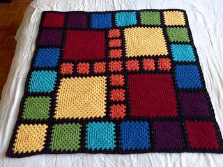 The idea behind the All Squared Away patterns is to take the traditional granny square pattern and make it sing! These patterns are designed to use squares of different sizes, which makes them ideal for using up scraps; while the joining method used cuts down on the number of ends you need to weave in.