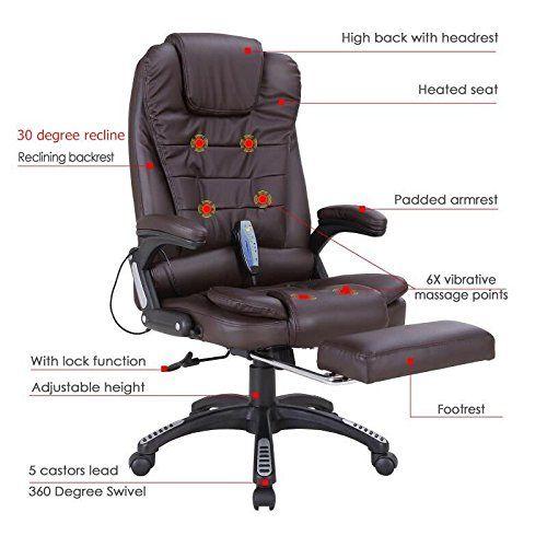 Nrg Heated Executive Ergonomic Massage Chair Vibrating Office