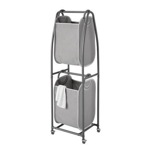 2 Tier Rolling Vertical Laundry Sorter With Hamper Totes And