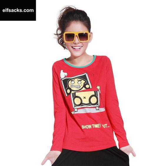 Womens Cartoon Round Collar Short Sleeve Tshirt Red