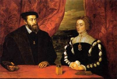 Charles V and the Empress Isabella/ This is a copy of a lost painting by Titian. The double portrait was painted by Titian in Augsburg in 1548. The Empress's portrait is posthumous, it is presumably based on a Netherlandish original. It is uncharacteristically lifeless in the treatment of the head and costume. However, the painting includes an evocative view of a mountainous landscape through the window on the right.