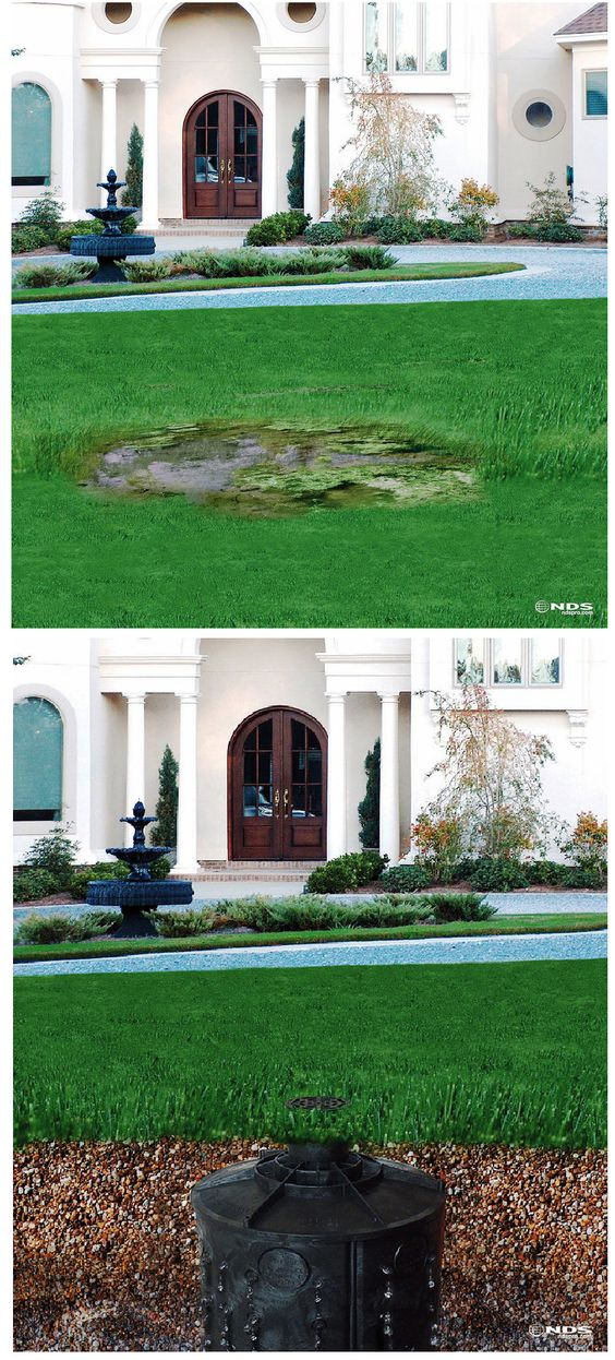 Yard drainage and yards on pinterest for Backyard flooding solutions