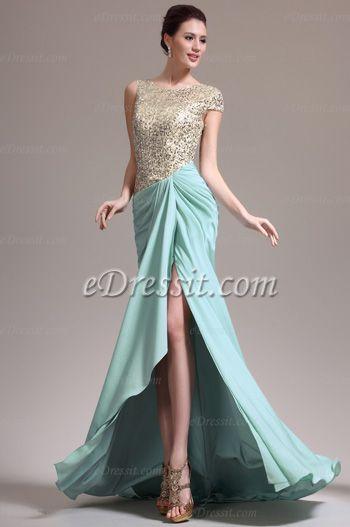 Wundervoll Ärmel Paillette Abendkleid (00137804)