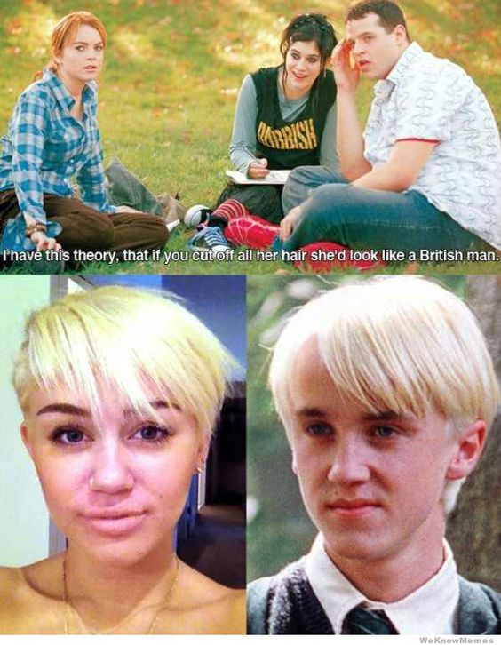 hahhahahha lollicopter everywhere: Miley Cyrus, Mean Girls, So True, Girls Quote, British Man, Hair, Miley Malfoy, Mean Girl Quotes
