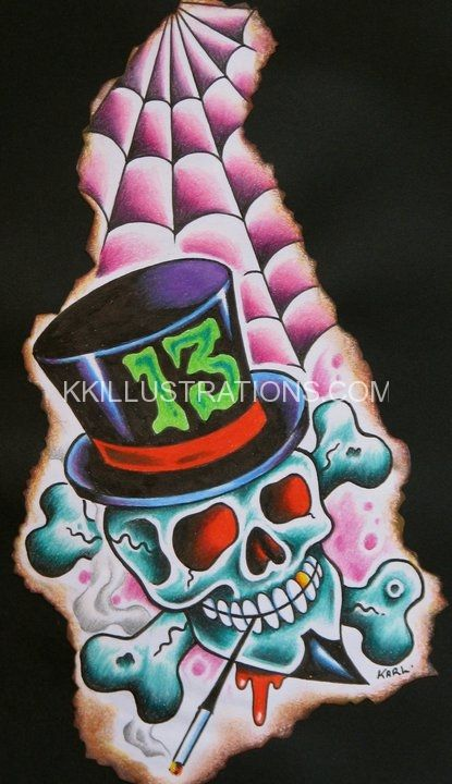 skull lucky 13 top hat tattoo flash with spider web art design by karl kaufmann rockabilly. Black Bedroom Furniture Sets. Home Design Ideas