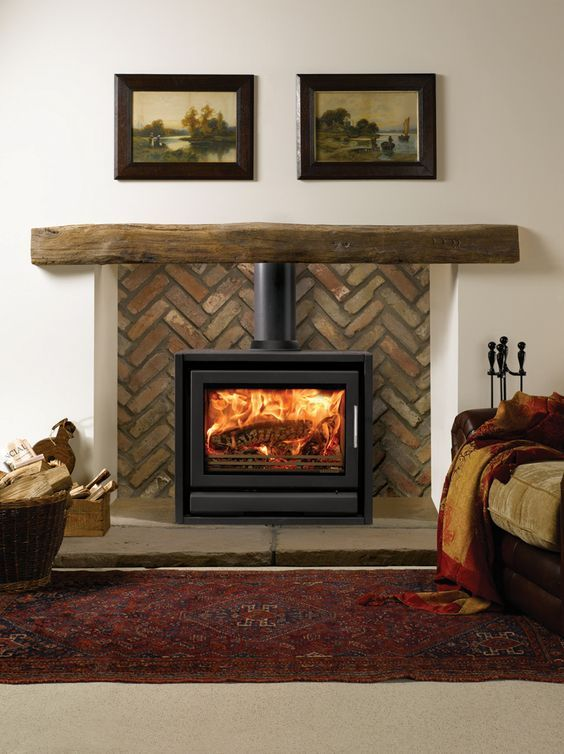 Or Similar To This Look If Woodstove Clearances Allow Sides Could Be Drywall Wra Wood Burning Stoves Living Room Wood Stove Fireplace Freestanding Fireplace