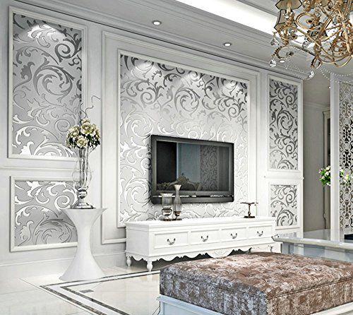 Papier Peint Gris Argente Elegant Chambre A Coucher Non Tisse