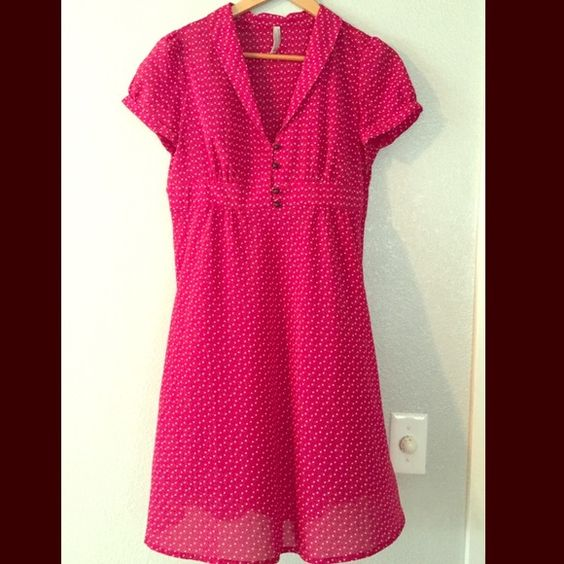 Chic Vintage Style Red ON Dress *[Reduced from $20] Like New! In perfect condition. Re-Posh: Sadly too small in the bust for me. Red w/small black & white dots. Cute button detail. Hidden zipper on side seam. From a pet & smoke free home. Bundle up for 20+ discount.  Old Navy Dresses Midi