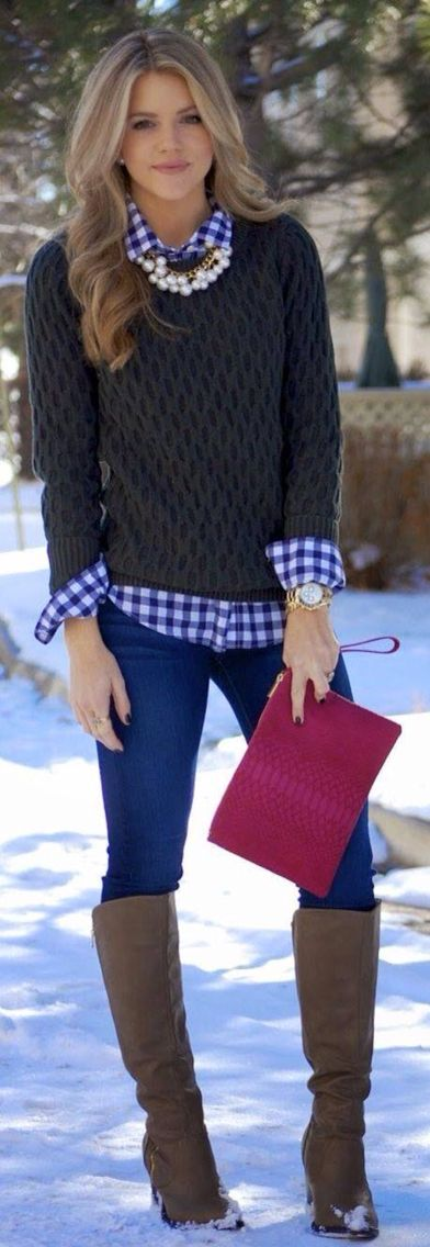 blue and white checkered shirt,brown sweater