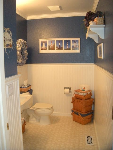 Stacked Longaberger baskets in your bathroom provide valuable storage without subtracting from a warm homey feel.