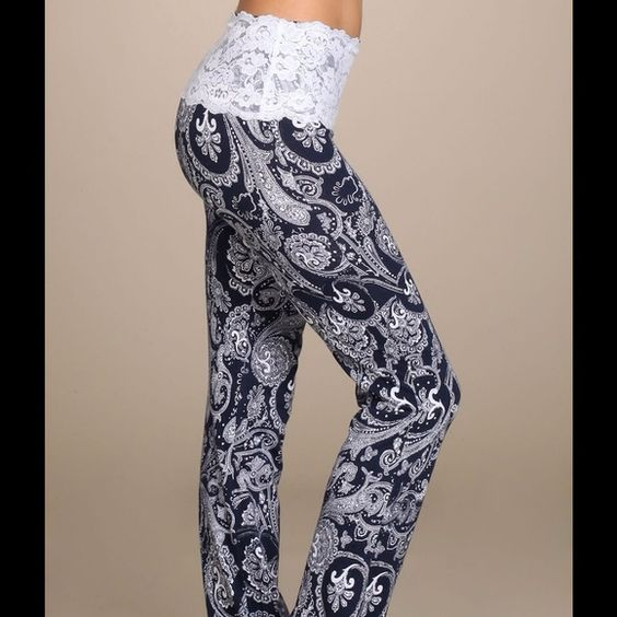 NAVY AND WHITE PAISLEY WAIST LACE PANTS I JUST LOVE THESE PANTS❤️I CANT SEEM TO KEEP THEM IN STOCK! LONG, LEAN AND BOOTCUT THESE BEAUTIES HUG YOU FIGURE AND ARE SO COMFORTABLE. Pants