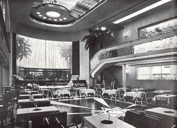 Rotonda de la planta principal del Dancing, Salon de Té Casablanca. Madrid 1934. De Luis Gutiérrez Soto. Arquitecturas perdidas.