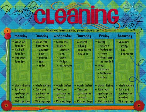 nice bold get-your-attention weekly cleaning chart