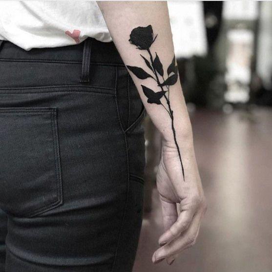 Solid Black Rose Tattoo On The Right Forearm By Slumdog Tattooer Hippiercings Hip Piercings Tumblr Black Rose Tattoos Rose Tattoo Forearm Forearm Tattoos