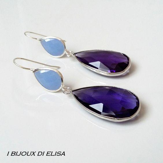 Earrings with turkish crystal: simply smart! #violet #purple #lightblue #azzurro #viola #earrings #orecchini #handmade #handmadejewels #handmadeearrings #bijoux #bigiotteria #drop #goccia #artigianato #ibijouxdielisa