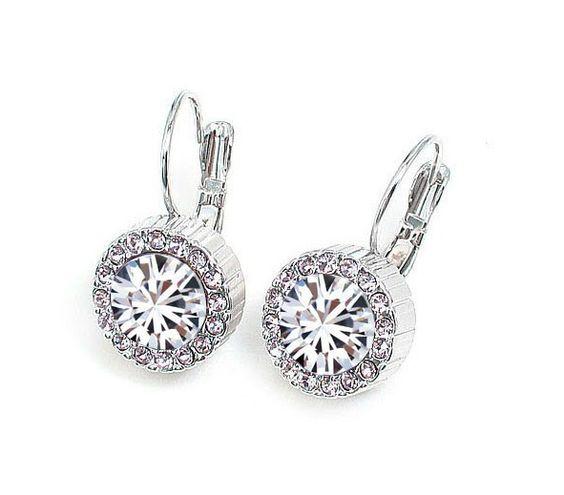 $1.19 Fashionable Rhinestone Embellished Crystal Earrings White i3100868