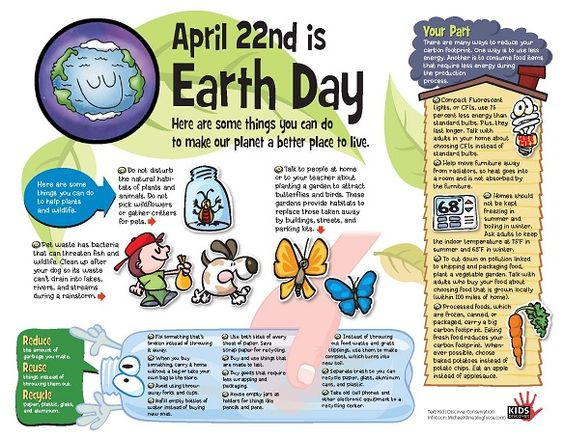 Earth Day is this Sunday! Here are some things kids can do to make our planet a better place to live.