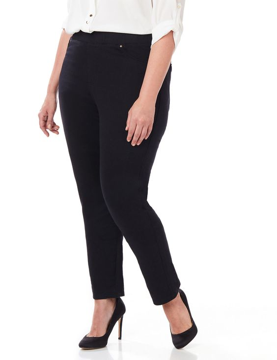 The Knit Jean | Catherines An essential jean for complete comfort...now in new colors! Our Knit Jean looks like a jean, but feels like a legging. Comfortable style features soft, stretch fabric and a smooth, slimming fit. Complete with a pull-on elastic waistband, stitched faux front pockets and a faux zipper placket. Back patch pockets hold all of your essentials. Finished with a slimming, tapered leg.