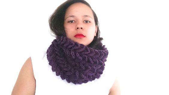 Crochet cowl scarf in deep purple Chunky cowl  by reneeoriginals1, $50.00 #Cowl #Fashion #Cowlscarf #Winterscarf #fashion #fashionista #purple #Purplescarf #handmade #unique #Etsy #crochet #winteraccessories #fallfashion #Autumn #Colors #ooak #statement