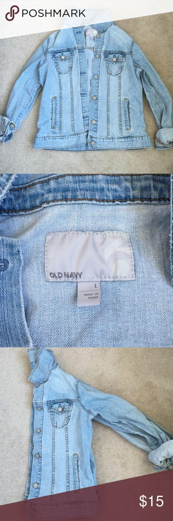 EUC Old Navy jean jacket size large EUC Old Navy light denim jean jacket size large. Very transitional from season to season! Old Navy Jackets & Coats Jean Jackets