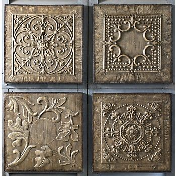 "Embossed metal is lightly washed with brown stain to capture the look of antiquity. Metal frame; distressed, brown painted finish. Set of 4, as shown; 17 3/4"" sq. x 1 1/4"" thick.:"