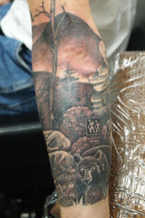 Hiking tattoo, mountains, bear tattoo
