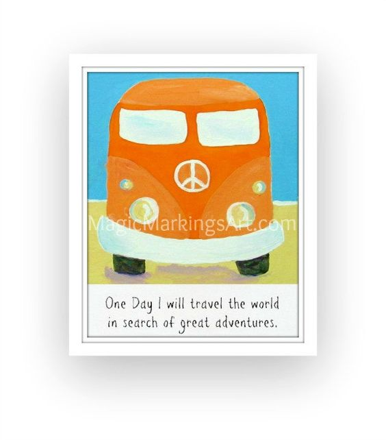 Children vw bus art- beach nursery decor, turquoise, orange 8x10 inch polaroid print by Cathie Carlson.