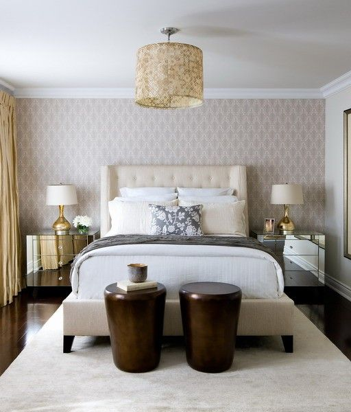 I Like The Paper For An Accent Wall! Toronto Interior Design Group:  Contemporary Ivory And Gold Bedroom With Wallpaper Accent Wall, Yellow Silk  Drapes And ...