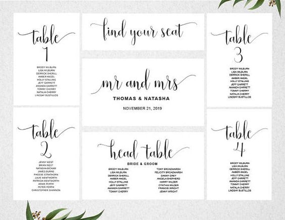 Table Seating Chart \/\/ INSTANT DOWNLOAD \/\/ Editable \/\/ Printable - seating chart templates
