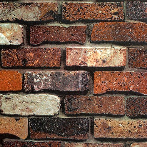 Brick wallpaper living room walls and texture on pinterest Red brick wallpaper living room
