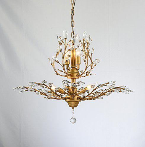 Garwarm 8 Lights Vintage Crystal Chandeliers Ceiling Lights Led