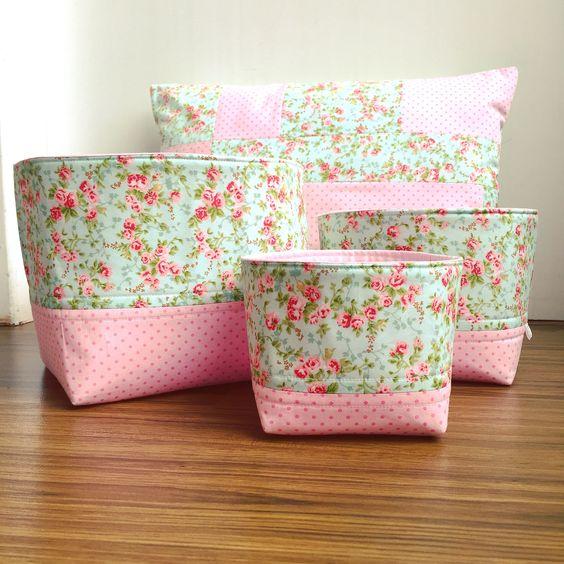 Fabric Baskets / Cestos de Tecido Chá de Baunilha