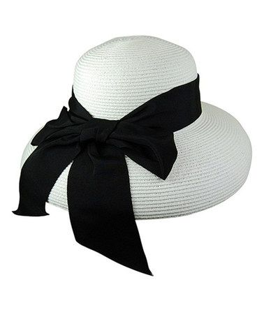 Another great find on #zulily! White & Black Bow Lampshade Hat by Downtown Style #zulilyfinds